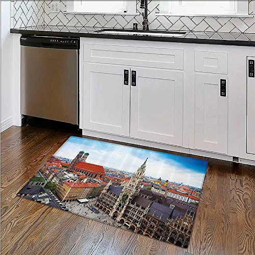 Extra Thick Comfortable Rug Dusk as the Flood Lights are Illuminated Cathedral in Ancient City Of Toledo Spain Prin Garage – Durable W17''xH14'' by SCOCICI1588