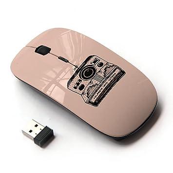 Ratones ópticos Ratón inalámbrico móvil 2.4G portátil para portátil, PC, ordenador portátil, ordenad (Cámara melocotón retro de la fotografía Negro): ...