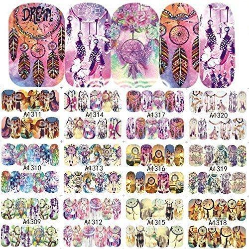 12 sets Modern Boho Mandala Mehndi NAIL ART STICKERS Native American Indian dream catcher tassel NAIL DECALS gods eye sanskrit Hindu water transfer cosplay nail tatoo nail vinyls French tip sticker