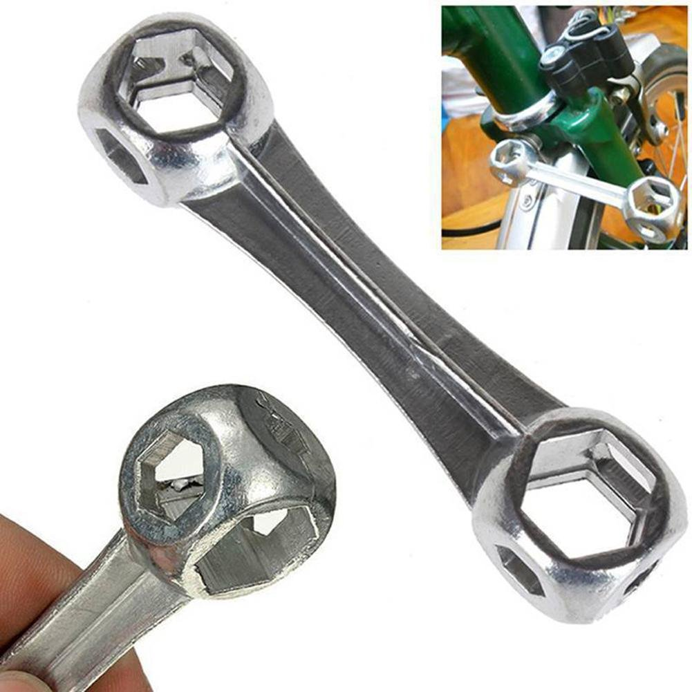 Starnearby 10 in 1 Mini Bicycle Repair Tool Dog Bone Shape Wrench Hexagon Hole Spanner