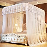CUSHIONLIU Guide Rail Expansion Mosquito Nets Single Door Princess Wind Floor Style white 1.5m (5'') bed