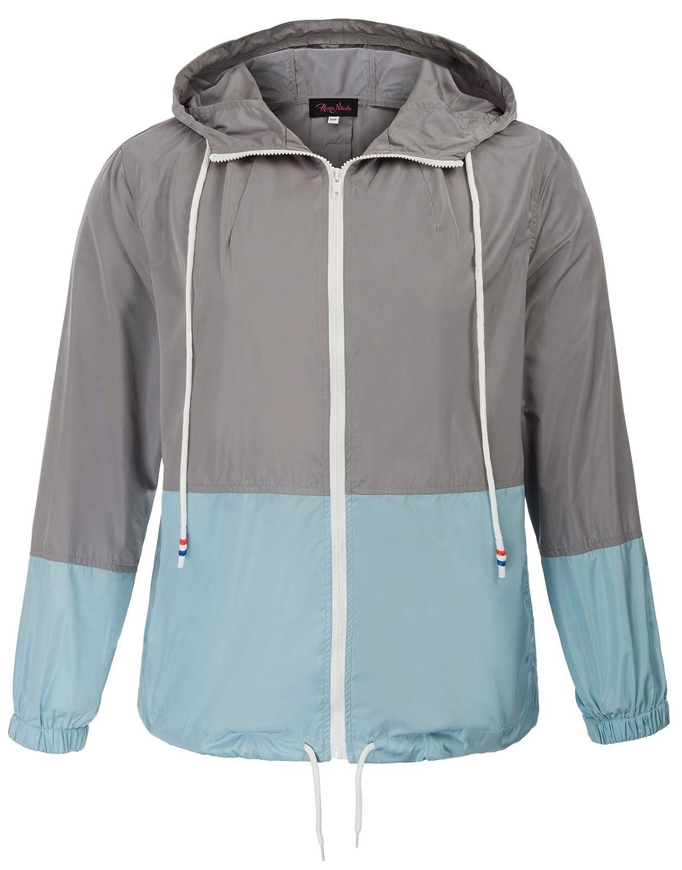 Hanna Nikole Women Plus Size Lightweight Hooded Jacket Waterproof Outdoor Rain Coat 24W Gray HN0105-1_24W