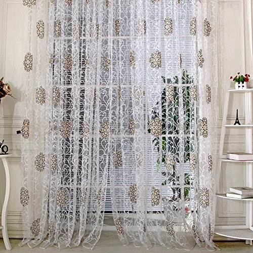 Vintage Voile Hydrangea Printed Window Curtain Coffee - 1