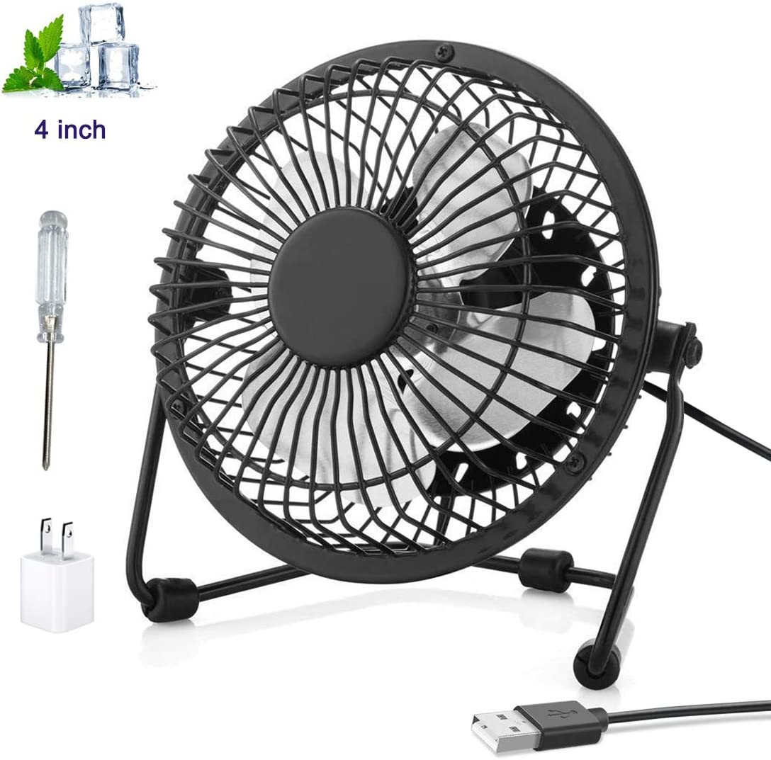 2019 Upgrade USB Fan - houmi 4 inch Mini Desktop Office Fan with 360 Rotation - Ultra-Quiet Design USB Powered Portable Mini Table Fan for Home/Office/Room/School/Car (Black with USB Adapter)