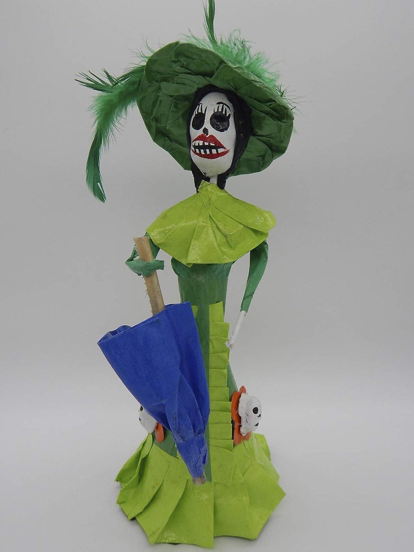 COLOR Y TRADICI/ÓN Mexican Catrina Doll Day of Dead Skeleton Paper Mache Dia de Los Muertos Skull Folk Art Halloween Decoration Umbrella # 1576