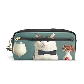 Estuche para lápices de gato en restaurante con leche, estuche con cremallera para niñas, bolsa de maquillaje grande con compartimentos: Amazon.es: Oficina ...