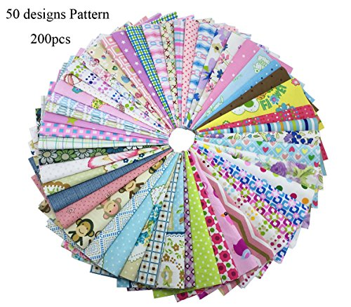 levylisa 200 PCS 6'' x 6''100% Precut Cotton Fabric Bundles DIY Quarters Bundle, Squares Quilting Fabric Quarter Fabric Bundle, Precut Fabric, Quilting Fabric Bundles, Precut Quilt Kit