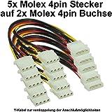 PC Netzteil Y-Stromkabel intern Molex 1x 4pin Stecker auf 2x Molex 4pin Buchse Anschluss verdoppeln (5 Stck)