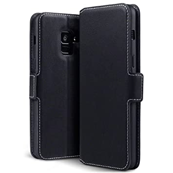 check out 279e6 720da TERRAPIN, Compatible with Samsung A8 2018 Case, Slim Fit Leather Wallet  Flip Cover with Stand - Black