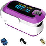 mibest OLED Finger Pulse Oximeter, O2 Meter, Dual Color White/Purple