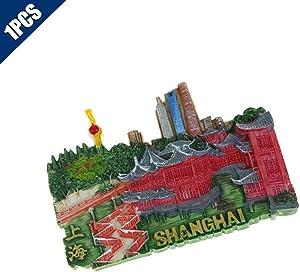 Comidox 1Pcs Vintage 3D Resin Souvenir Fridge Magnet Countries Architectural Landscape Refrigerator Sticker Souvenir Tourist Gift-Shanghai
