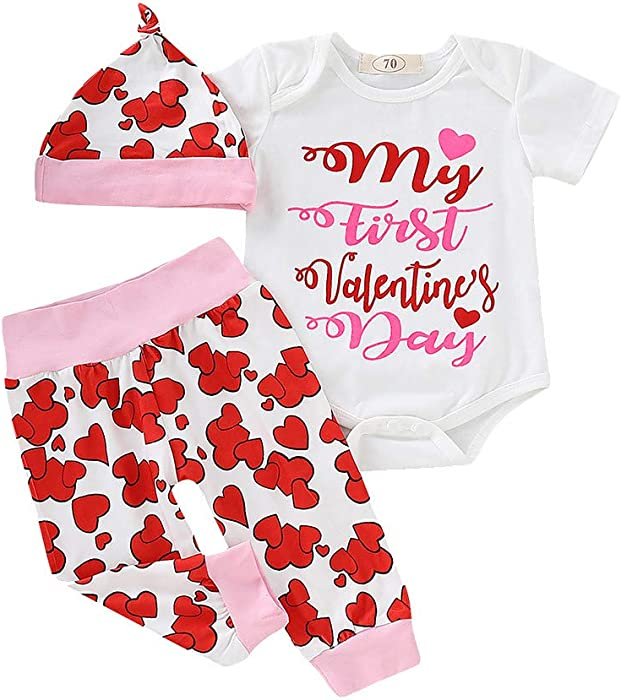 83ddc1a8e404 Jchen 3Pcs Baby Kids Little Girls' Valentine Letter Print Romper+Heart  Print Pants+