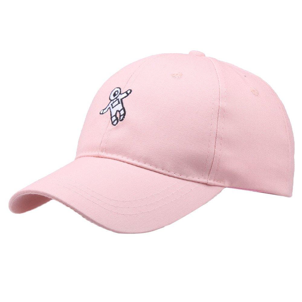 Cealu Unisex Men Women Astronaut Emberoidery Fashion Hat, Hip Hop Distressed Baseball Hat Cap Adjustable Snapback Hats (Pink)