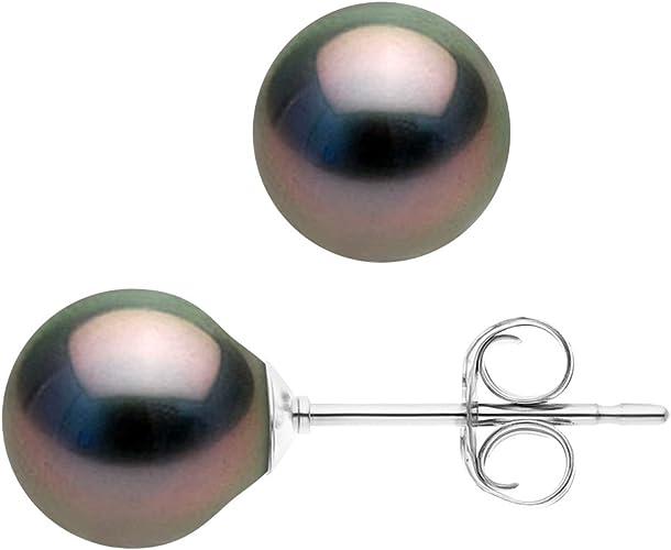 Argent Massif 925 Milli/èmes V/éritables Perles de Culture dEau Douce Boutons 4-5 mm Pearls /& Colors Bijou Femme 2 Paires de Boucles dOreilles