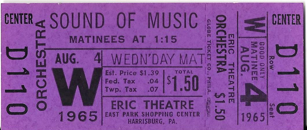 Julie Andrews 'SOUND OF MUSIC' Rodgers & Hammerstein 1965 Unused Movie Ticket