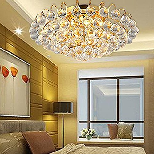 COLORLED Modern K9 Crystal Rain Drop Flush Mount Ceiling Chandelier Golden Bracket with 3-Light Living Lamp Diamater 11.8 Inch Bedroom Restaurant Aisle Entrance LED Pendent Lighting Fixtures (Gold) - Flush Mount Drop Plate
