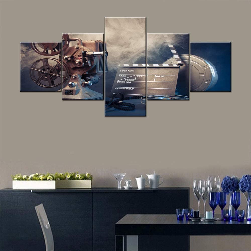 5 Piece Canvas Wall Art for Bedroom Filmmaking Concept Scene with Dramatic Lighting Painting Home Decor Vintage Movies Artwork Contemporary Picture Frame Ready to Hang Posters and Prints(50''Wx24''H)