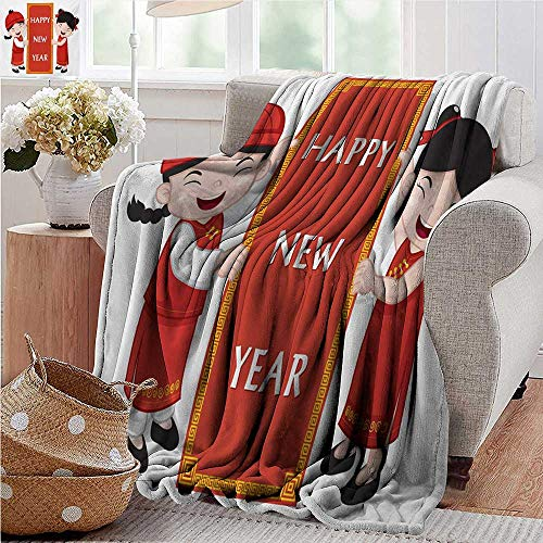 XavieraDoherty Sand Free Beach Blanket,Chinese New Year,Cheerful Asian Children in Traditional Costumes Holding a Celebration Sign,Multicolor,Soft Summer Cooling Lightweight Bed Blanket 50