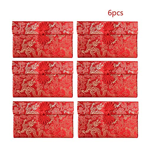 (Cards Invitations - 6pcs Set Wedding Red Envelope Year Spring Festival Pocket Creative Gift - Stapler Ornaments Wedding Card Mesh New Business Scrapbook Envelope Long)