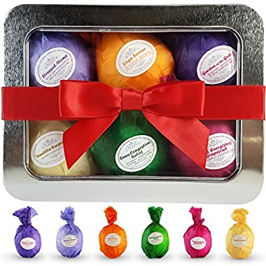 Bath Bombs Gift Set - USA Made - Ultra Lush SPA Fizzies Organic & All Natural Essential Oils. Add to Beauty Bath Basket. Relaxation, Stress Relief and Dry Skin Relief Is Just One Bathtub Away! A Unique Gift for Her. Infused With Organic Shea and Cocoa Butter