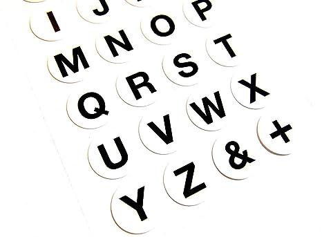 18mm Nero Lettere Su Bianco Etichette Autoadesivo Lettere Alfabeto