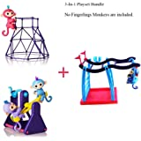 Dongstar 3pcs Finger Baby Monkey DIY Bar Playground Playset for Finger Monkey Toy, Climbing Stand with Seesaw and Swing included in bundle. [No Monkey Included]