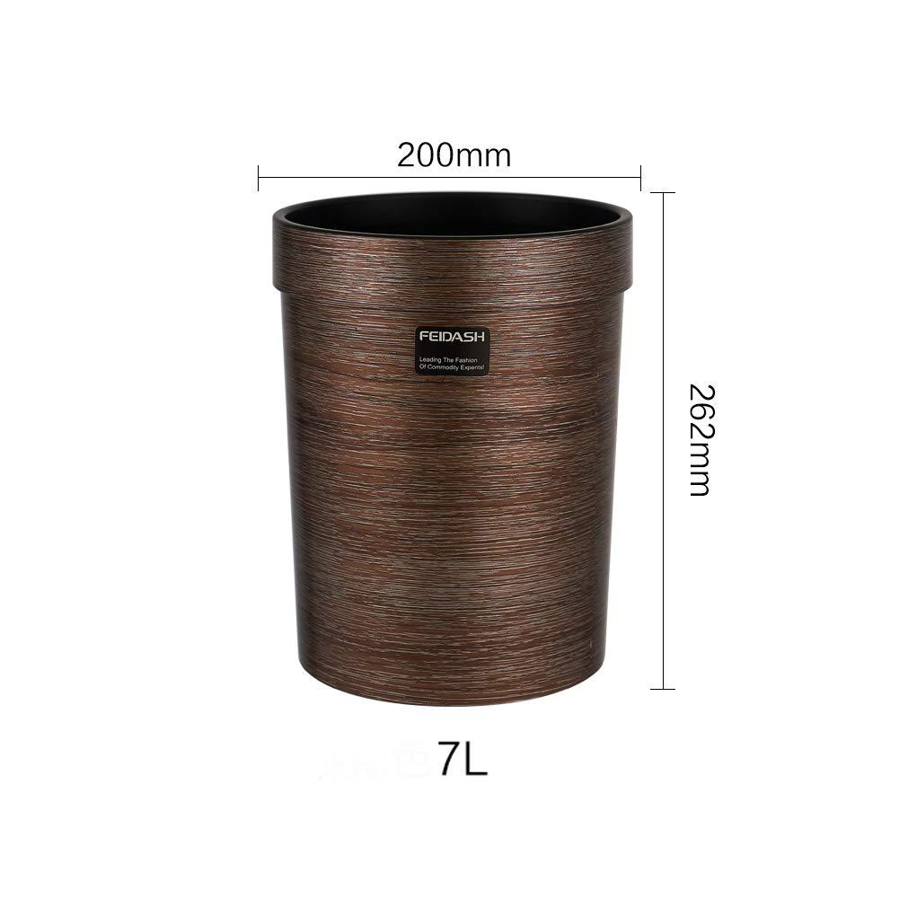 JRMU Vendimia Presionando El Anillo De Cubo De Basura 7 litros Grano De Madera Mim/ética Basurero Sin Tapa Pl/ástico Papelera para Dormitorio Casa Oficina -a 7l 10.3x8in
