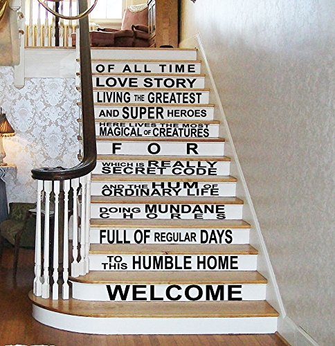"GMDdecals In This House Superhero Fandom Welcome Quote Wall or Stairs Vinyl Wall Decal [BLACK] 44"" x 24"" Magic Fantasy Sci-fi Home Decor bedroom gift by GMDdecals"
