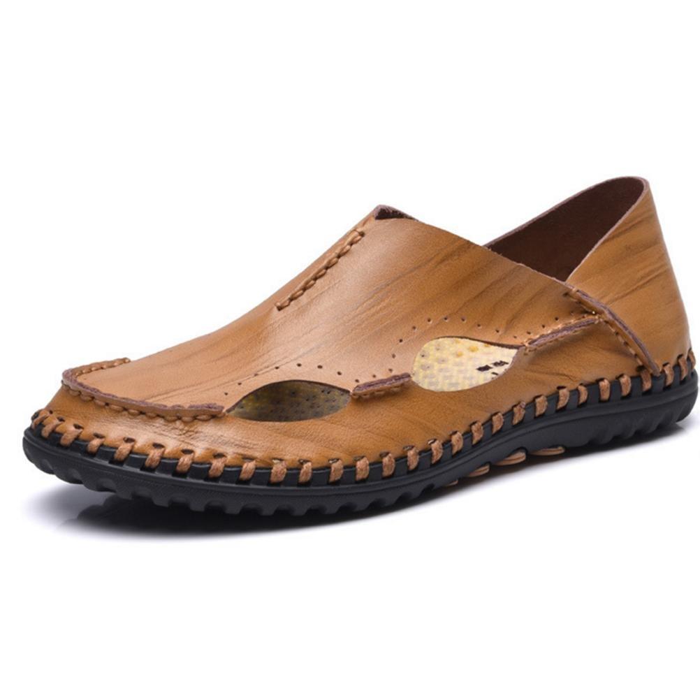 Natürlich Leder Sandalen zum Männer Weich Rutschfest Sohle, einzig, alleinig Schuhe Dauerhaft Atmungsaktiv Sommer Sport Schuhe alleinig 1 d6da4a