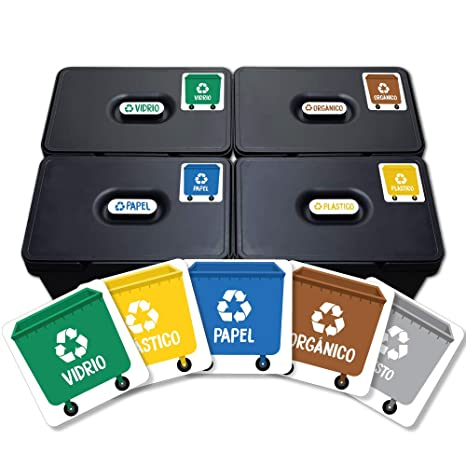 Haberdashery Online 5 Etiquetas Adhesivas Reciclaje Basura. Pegatinas para la gestión de residuos. Cada una de 4,8 x 4,8 cm.