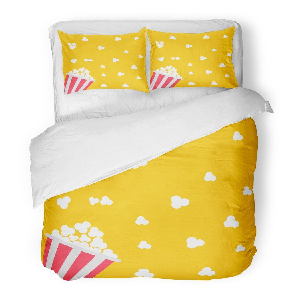 SanChic Duvet Cover Set Pink Pop Popcorn Cinema in Flat Design Style Red Corn Movie Night Food Decorative Bedding Set Pillow Sham Twin Size