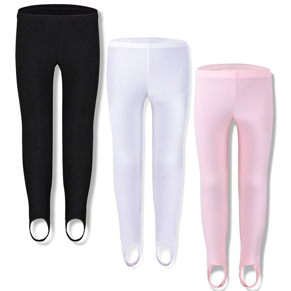 TFJH E Girls' Basic Ultra Soft Stretchy Stirrup Leggings 1 Pack Black White Pink 3-4 Years