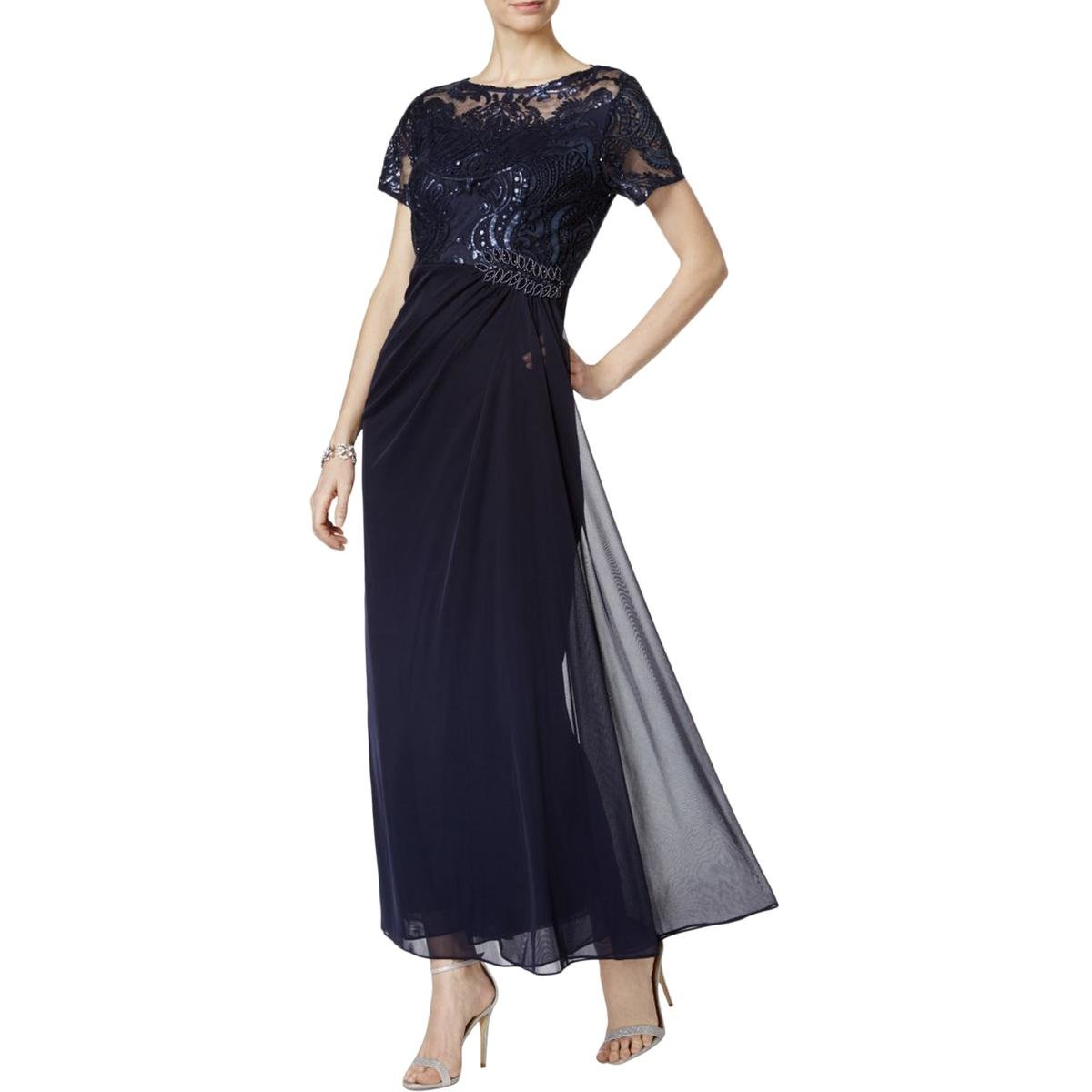 d9527f92ad1c2 Our long side ruched waist evening gown features a short sleeve illusion  embroidered bodice with a beaded applique at side hip. This is the perfect  dress ...