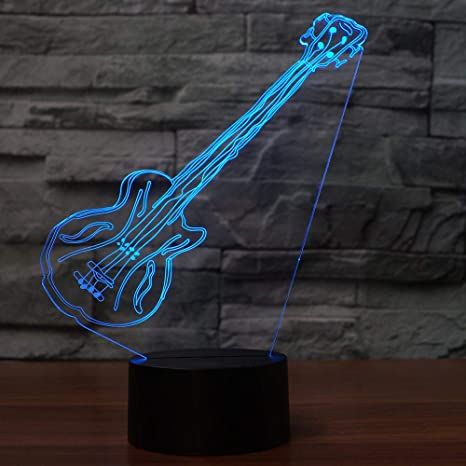 Lámpara De Mesa De La Guitarra Eléctrica Del Arte De 3D Led Led Luz De La ...