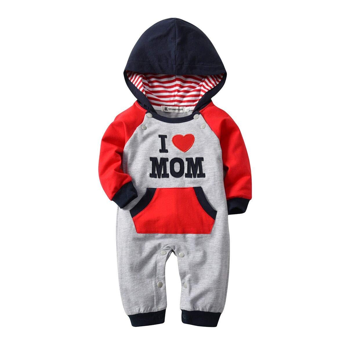 Pagliaccetto Neonato Unisex, Inverno e autunno Neonato Cotone Lunga cappuccio Romper Baby Jumpsuits