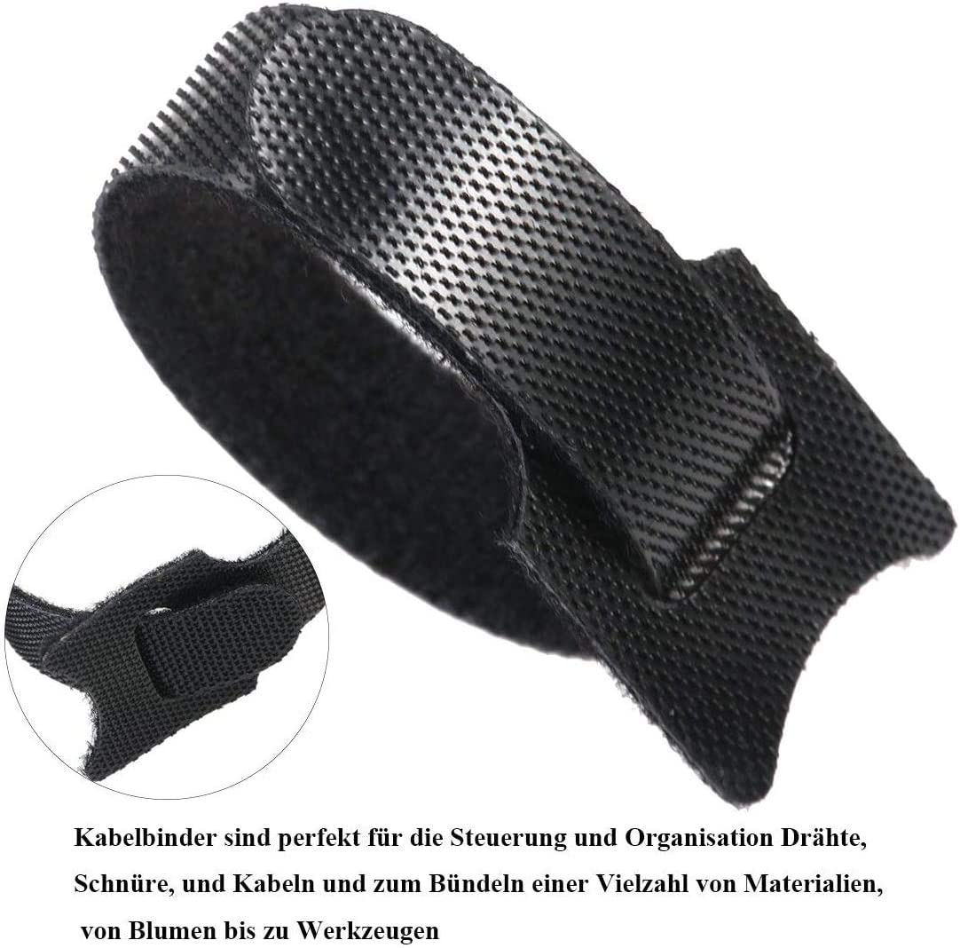 En nylon de qualit/é sup/érieure Refermable Lot de 100 serre-c/âbles auto-agrippants 150 x 12 mm Avec fermeture Velcro Noir