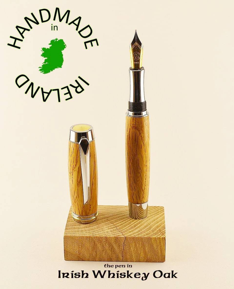 Desk stand FREE for our Irish whiskey barrel Oak Shannon fountain pen all handmade in Cavan Ireland great 5th wedding anniversary gift writers ink pen dip pen Peter Bock nibs available for this pen