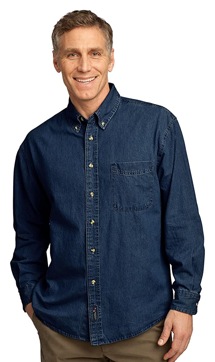 Port /& Company Mens Long Sleeve Value Denim Shirt