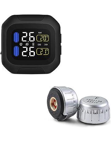VISLONE Sistema di Monitoraggio della Pressione dei Pneumatici per Moto con 2 Cordless Impermeabili con Sensore Esterno