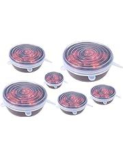 Película del abrigo del silicón 6Pcs para la tapa de las tapas del estiramiento de la comida que cabe diversas latas de los envases de comida, reutilizable, libre de BPA con diversos colores