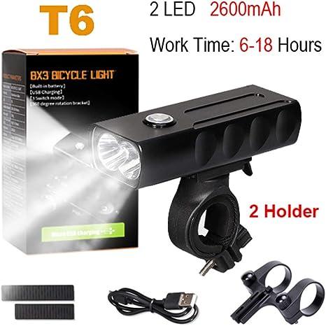 Juego de Luces de Bicicleta T6 L2 Linterna para Bicicleta de 2400 ...
