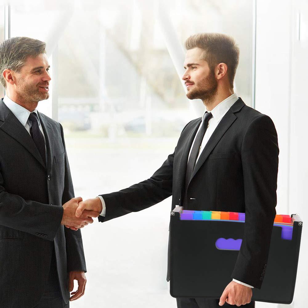 24 Tasche Colorful File Folder Intbase Expanding File Organizer A4 Letter Size Portadocumenti portatile File Box per Home Conference Cartelle di Office