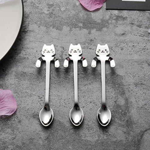 Tea Spoon Desser Islandoffer Stainless Steel Flower Spoon Coffee Set of 5 Ice Cream Spoon Cake Stirring Sugar spoon