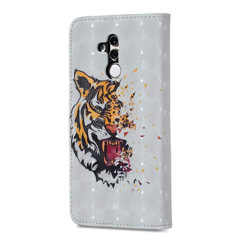 CoqueCase Funda para Huawei Mate 20 Lite Libro Cuero PU Tapa Flip Case Cierre Magn/ético Carcasa Mate 20 Lite Billetera Cartera Ranuras de Tarjeta Soporte Plegable Antigolpes Protective Tigre