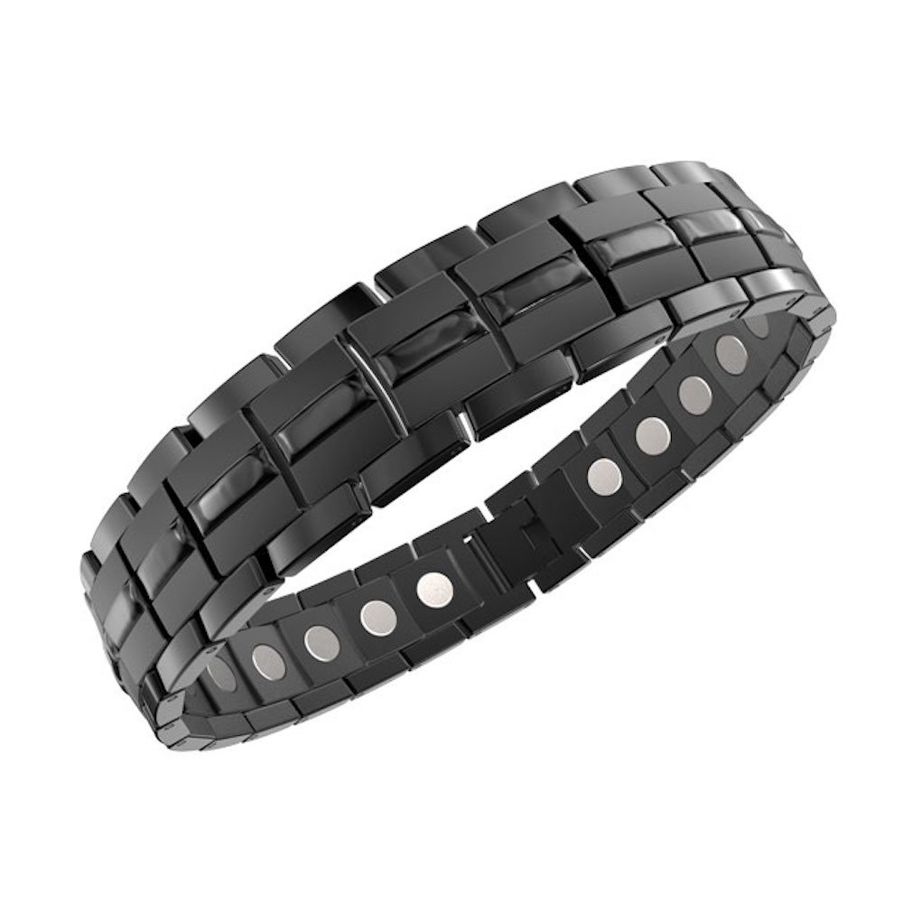 ProExl Mens Magnetic Titanium Bracelet Carbon Black for Arthritis and Carpel Tunnel, Size Adjuster, Gift Box Gift Box (7.) ProTi