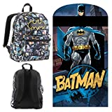 DC Comics Batman Travel/Sleepover Set - Including Batman Hooded Slumber Bag and Comic Print Backpack