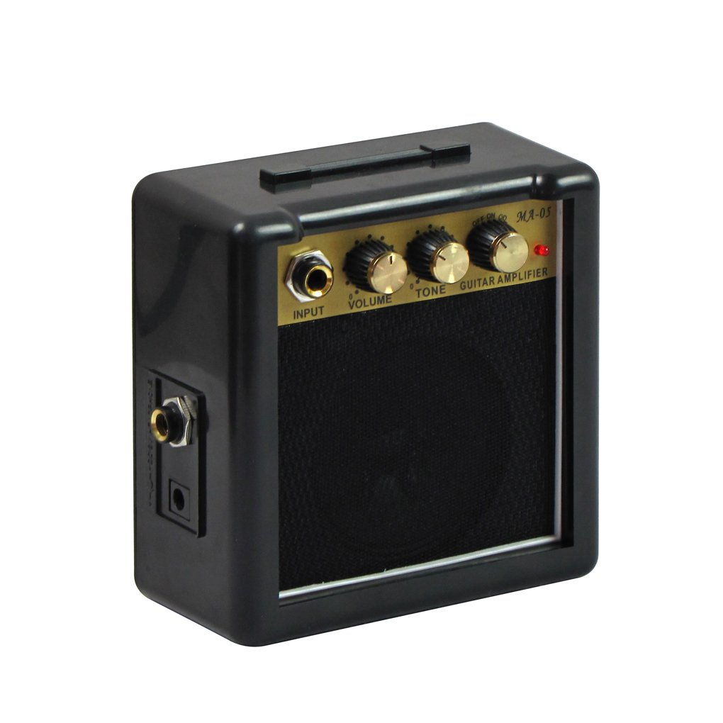 IKN Guitar Amp 5W Rectangle Portable Mini Travel Guitar Amplifier Speaker Accept 1/4 Guitar Cable for Acoustic & Electric Guitar with Overdrive Effect