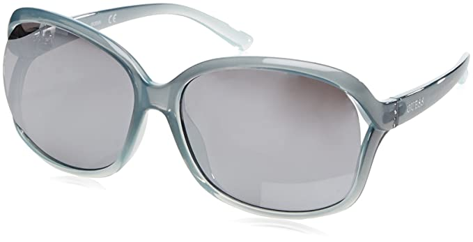 Guess Unisex-Erwachsene Sonnenbrille GF028686C61, Blau (Blu Trasparente), 66