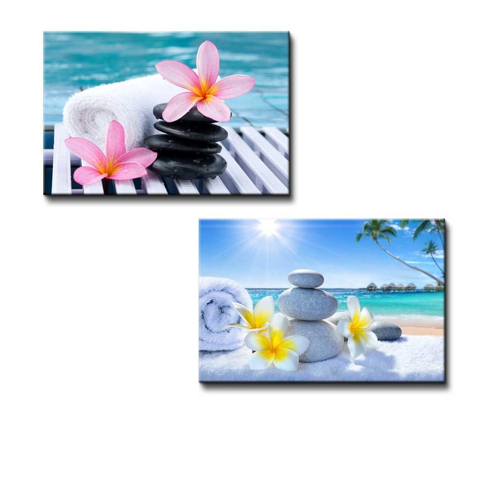 wall26 - Canvas Prints Wall Art - Spa Treatment on Tropical Beach | Modern Wall Decor/Home Decoration Stretched Gallery Canvas Wrap Giclee Print & Ready to Hang - 16''x24'' x 2 Panels