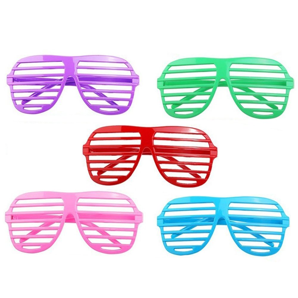 48 Shutter Shade Sunglasses In Neon Colors - Funky, Retro Party Glasses Complement Any Costume - High-Quality, Flexible Plastic Won't Break - Great Dance Accessory and Costume Party Favor